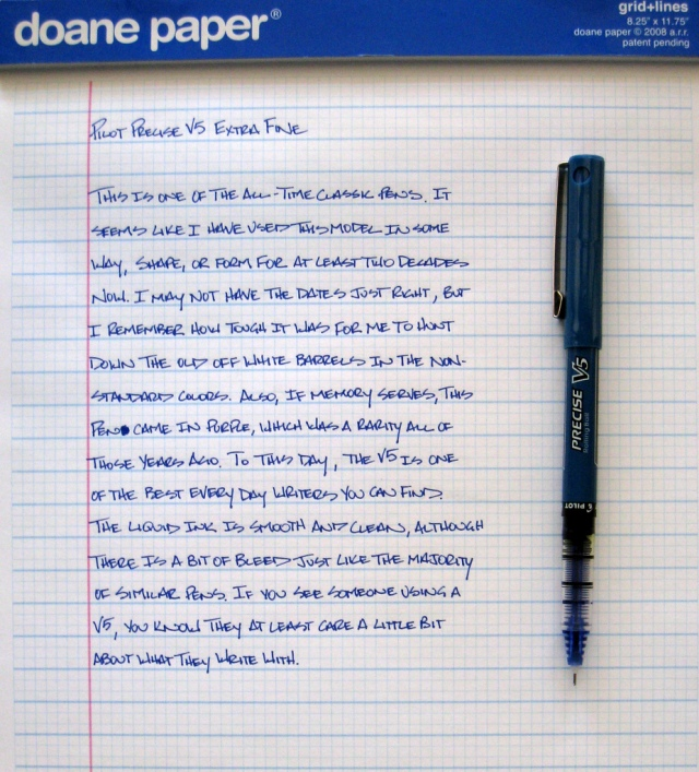 Pilot Precise V5, in classic blue, from penaddict.com.
