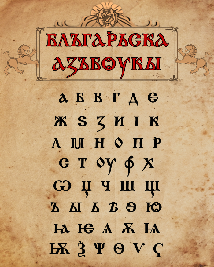 Old Bulgarian alphabet, a precursor to the modern Cyrillic alphabet. Read more here. (Image source: Wikimedia Commons)