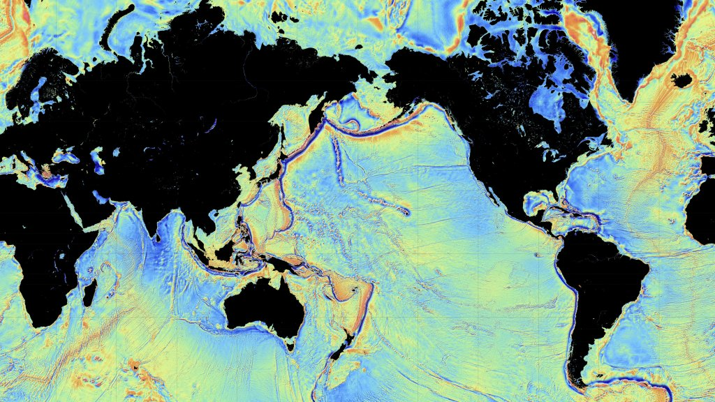 New, detailed map of the ocean floor. Image from Quartz.