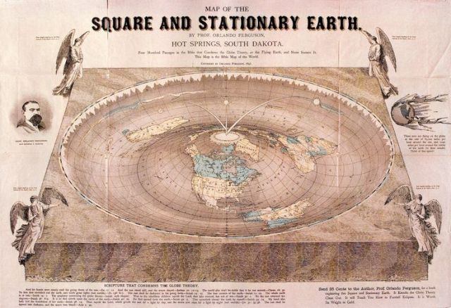 """""""Map of the Square and Stationary Earth"""" by Orlando Ferguson. Source: The History Blog"""